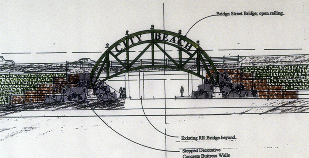 City Beach Bridge Sketch by Mark Spitzer