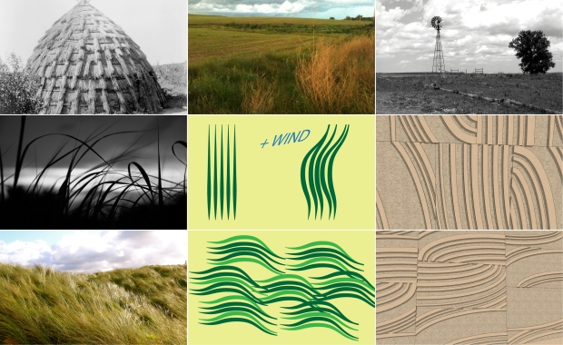 The concrete relief wall patterning was inspired from the wind over prairie grasses