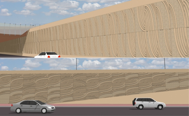 The pattern was used vertically and horizontally throughout the project