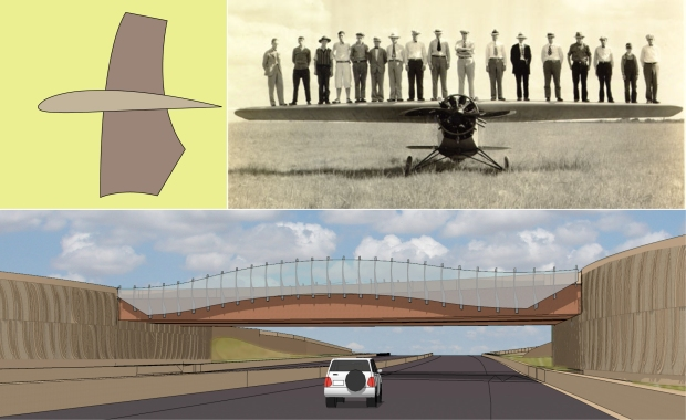 The bridge forms were inspired by wichita's history and heritage